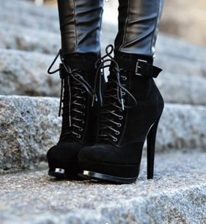 Black Coppy Leather Lace Up Stiletto Heels Ankle Boots Trending Shoes Heeled Ankle Boots Heels