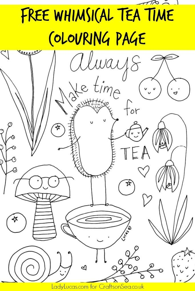 Download And Enjoy This Super Cute Free Tea Party Colouring Page, Perfect  For Kids Or For Adult Colouring.