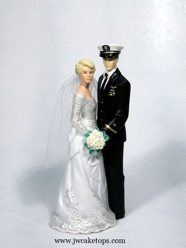 Our Day Navy Officer Blues Black Uniform Wedding Cake Topper