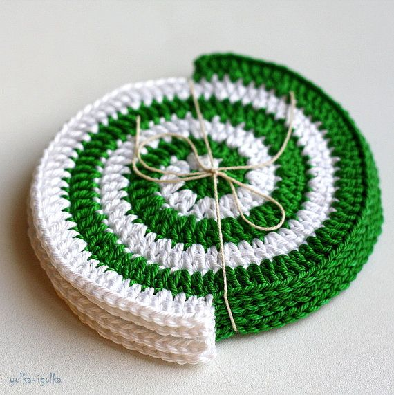 Crochet Coasters. Set of 4 pcs. Spiral. Green-White. Placemat ...