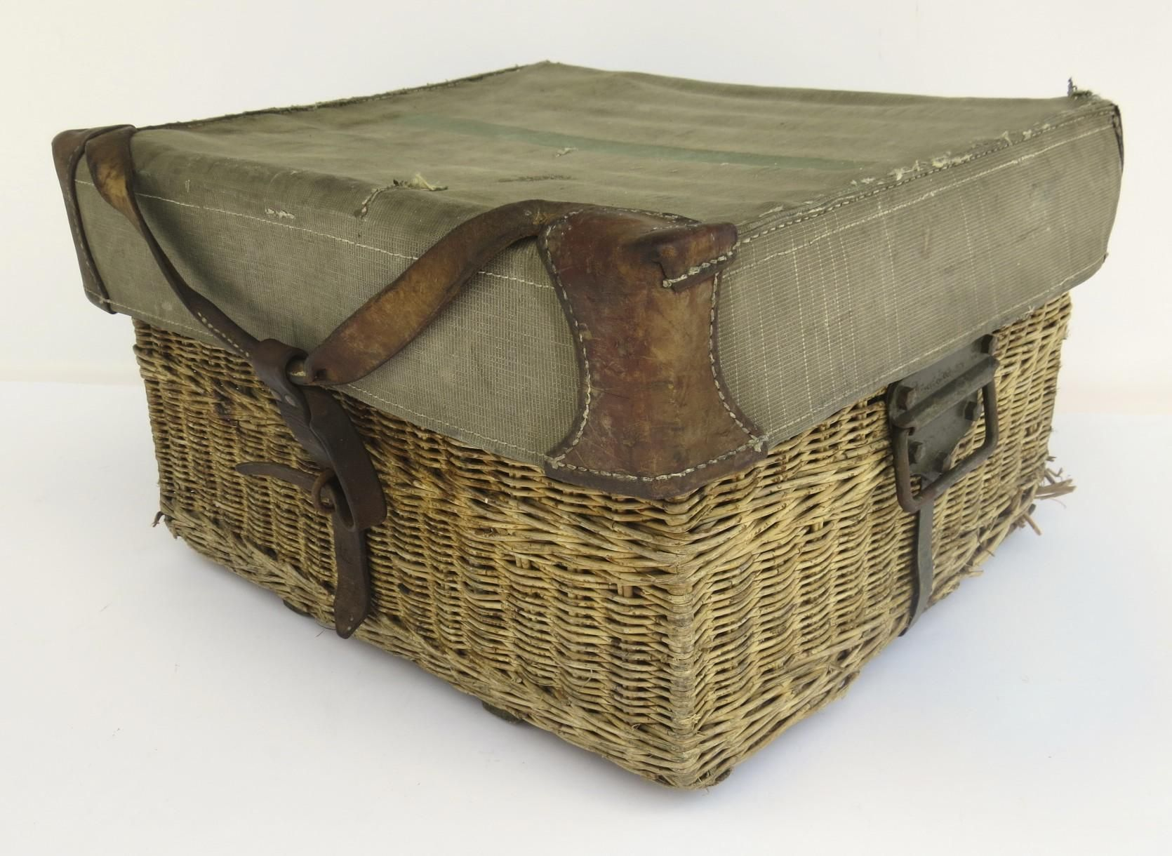 Vintage Swiss Army Wicker Baskethamper Leather & Fabric Wwii