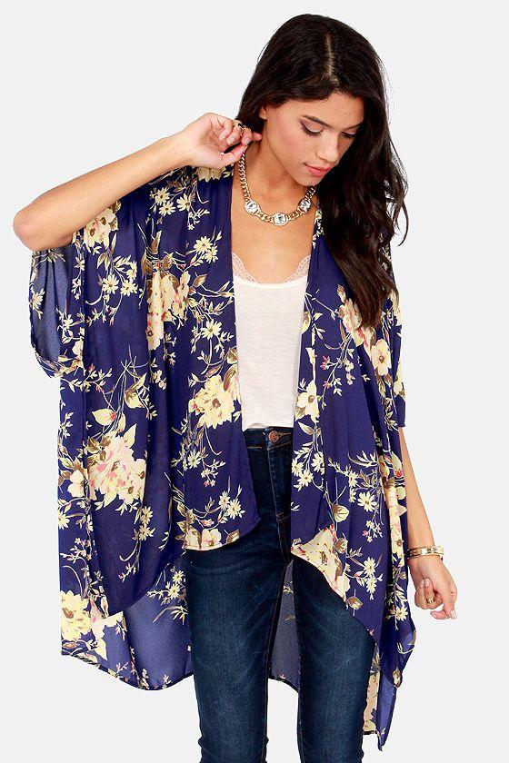 The Peacenik Blue Floral Print Kimono Jacket | Kimono jacket ...