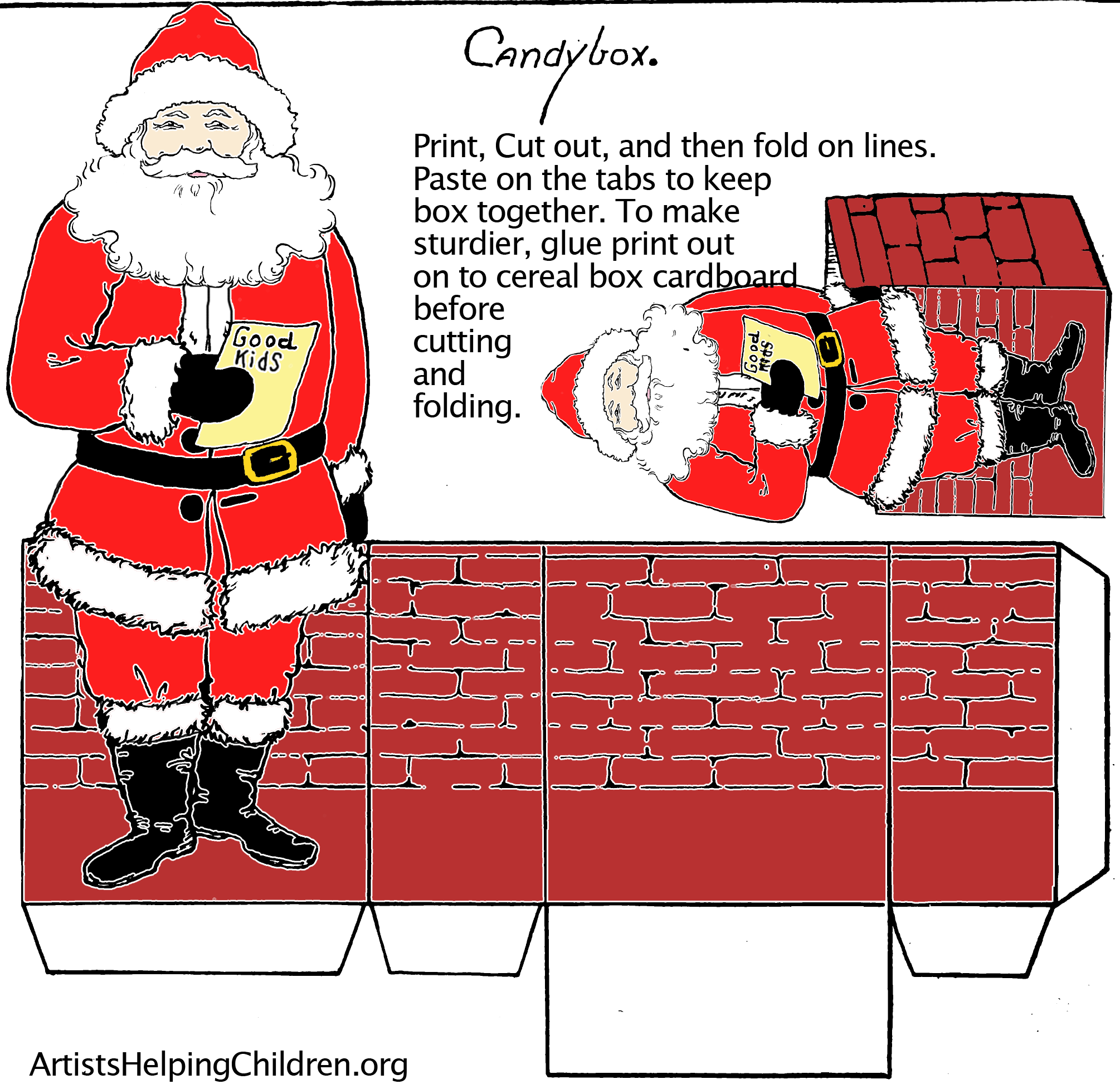 Paper Crafts Templates Make A Santa Clause Paper Candy Box With Printable Paper Craft Christmas Activity Book Playing Card Box Candy Box Template