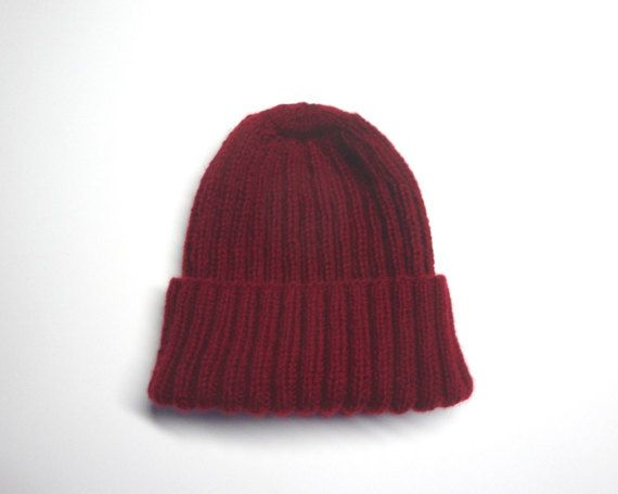 a6e2bd45431 Burgundy Red Cap Cashmere Knit Hat Watch Cap Beanie by Girlpower