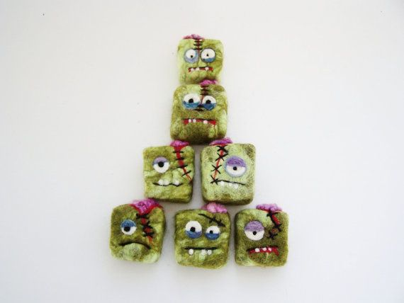 Felted Zombie soap - party pack - 12 mini monsters - great for party favors