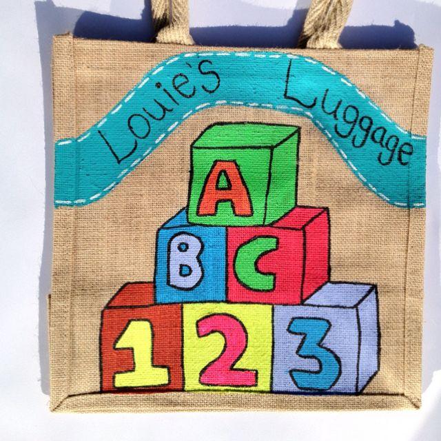 Medium Personalised Building Blocks Jute Bag
