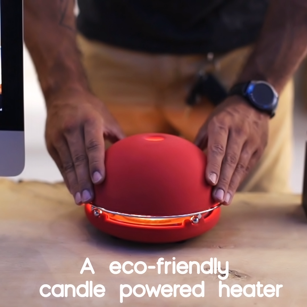 The Egloo is an eco-friendly candle powered heater that is designed to heat a small room, diffuse essential oils without electricity and humidify your environment.