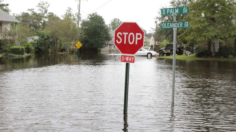 Waters flood a street in the Palm Lake subdivision in