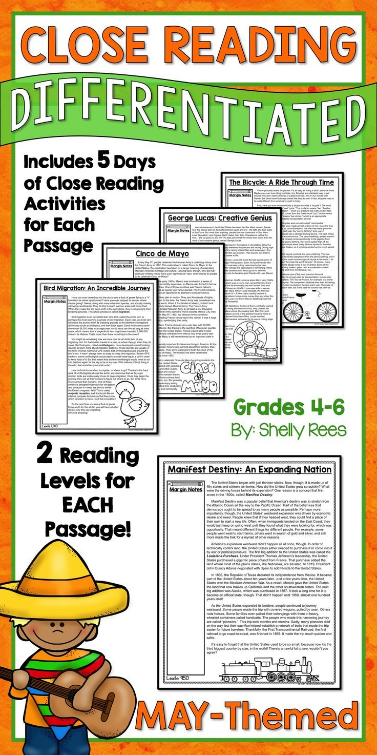 Close Reading Activities For The Month Of May Differentiated Passages For Close Reading On May To Close Reading Reading Comprehension Passages Reading Bundle [ 1472 x 736 Pixel ]