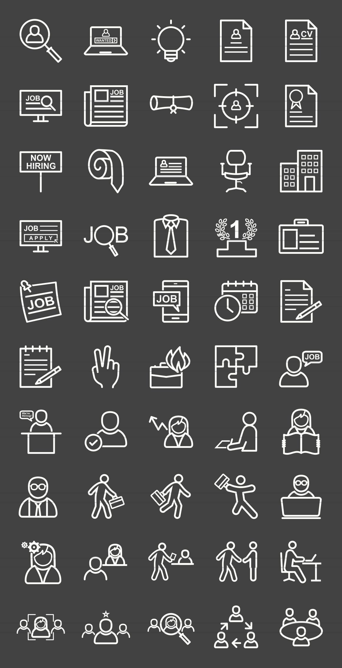 50 Employment Line Inverted Icons Employment application