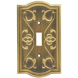 Stanley Home Designs V8052 Victoria Single Switch Plate, Antique Brass