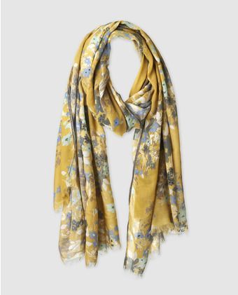 Fular Velvet en amarillo con estampado floral