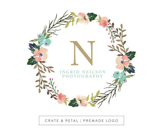 Premade Logo Design Vintage Floral Wreath Logo By