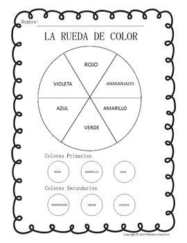 Color Wheel & Color Mixing Worksheets in English & Spanish