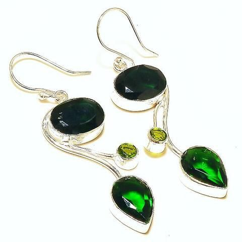"#ChromeDiopside #PeridotEarrings #925Sterling Wire Hooks 2"" New #jewelry #ecochicvjse #vogueteam"