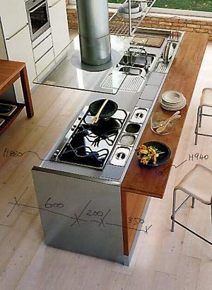 Sink And Cooktop In The Kitchen Island