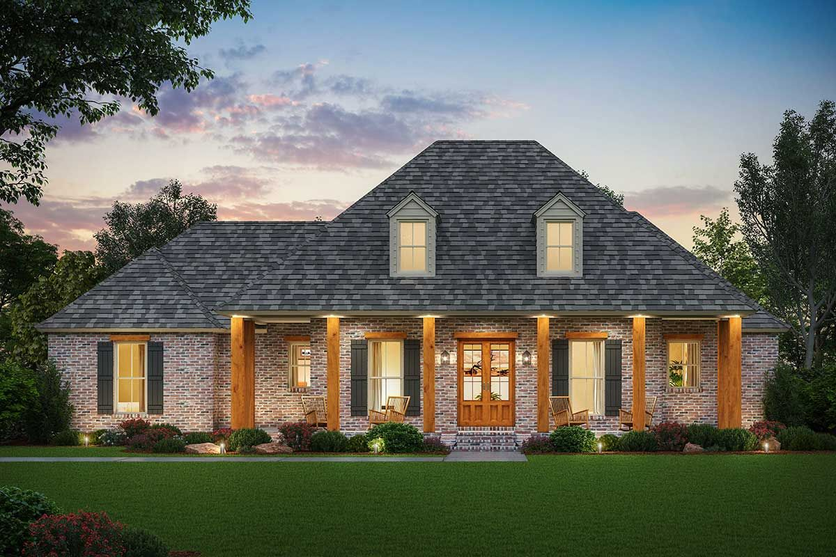 Plan 56455sm Classic Southern Home Plan With Rear Entry Garage In 2020 Farmhouse Style House Plans Southern House Plans French Country House Plans