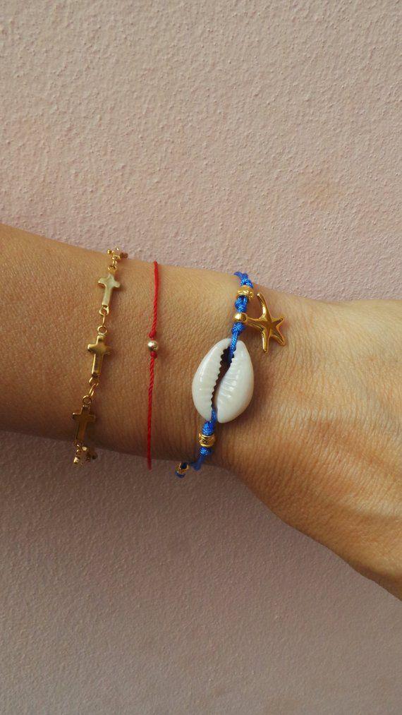 Cowrie shell bracelet. Shell bracelet. Beach bracelet