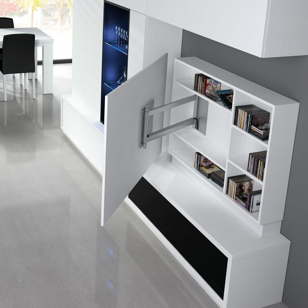 Salón comedor con mueble tv blanco detalle ambiente