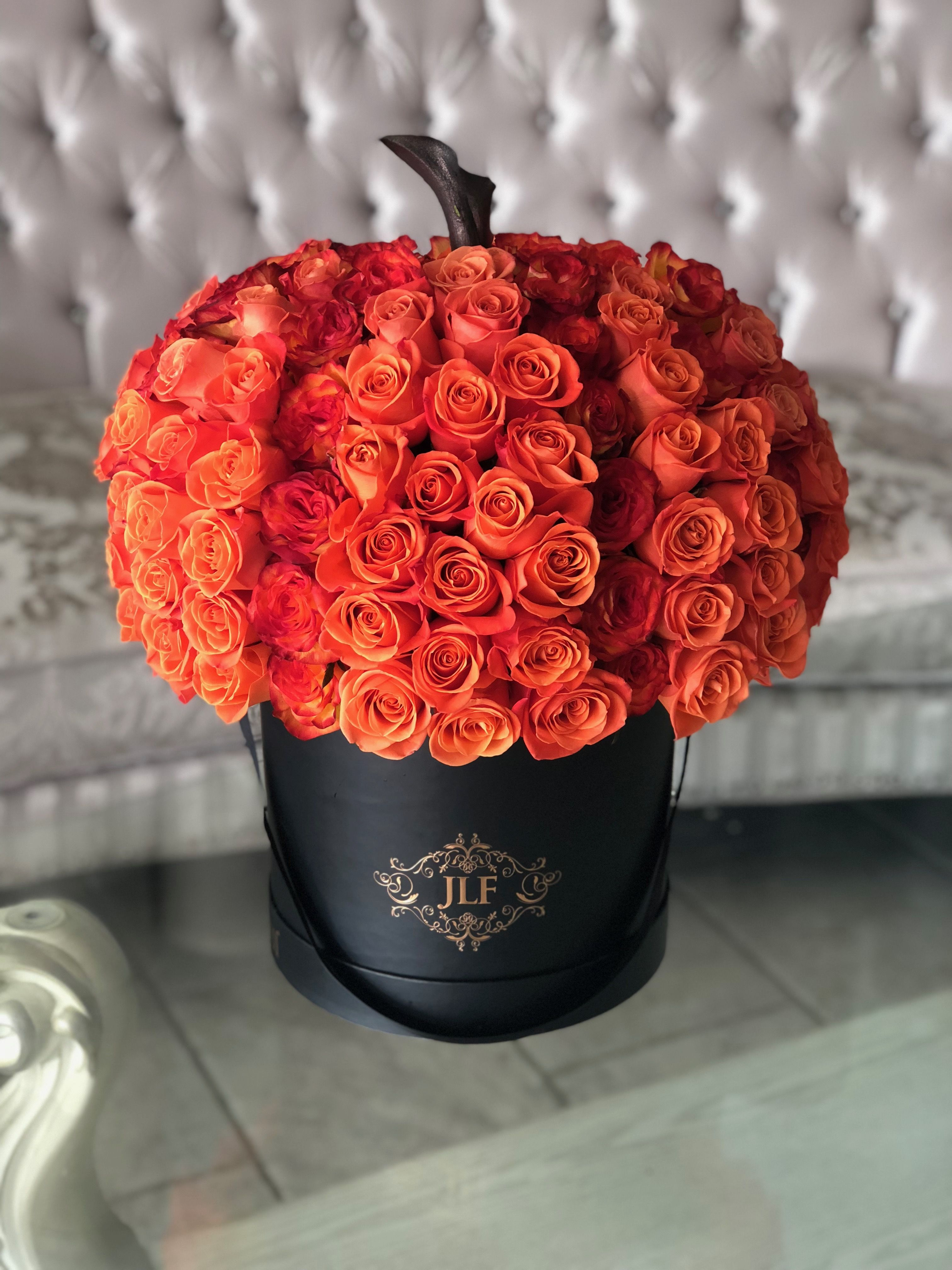 JLF OrangeRoses Pumpkin Same day flower delivery