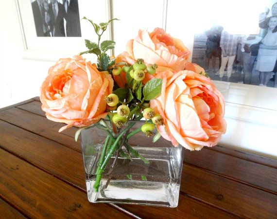 Silk flower arrangement peach cabbage roses a diy emergency idea silk flower arrangement peach cabbage roses a diy emergency idea if your main flowers unavailable for event mix fake wth real if youve just got to mightylinksfo