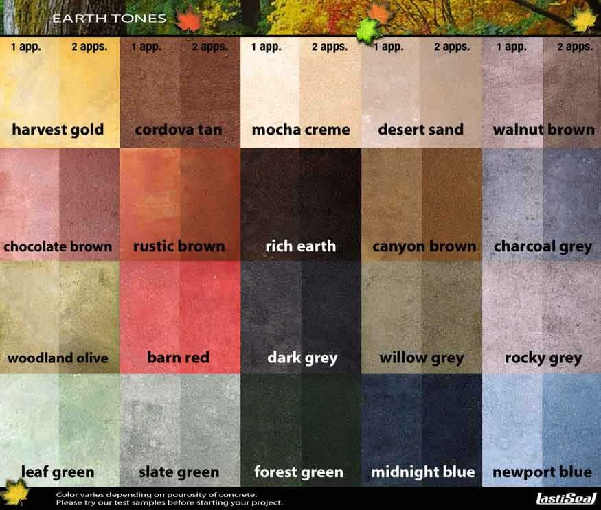 Lastiseal Earth Colors Pallet For Sidewalk And Stairs