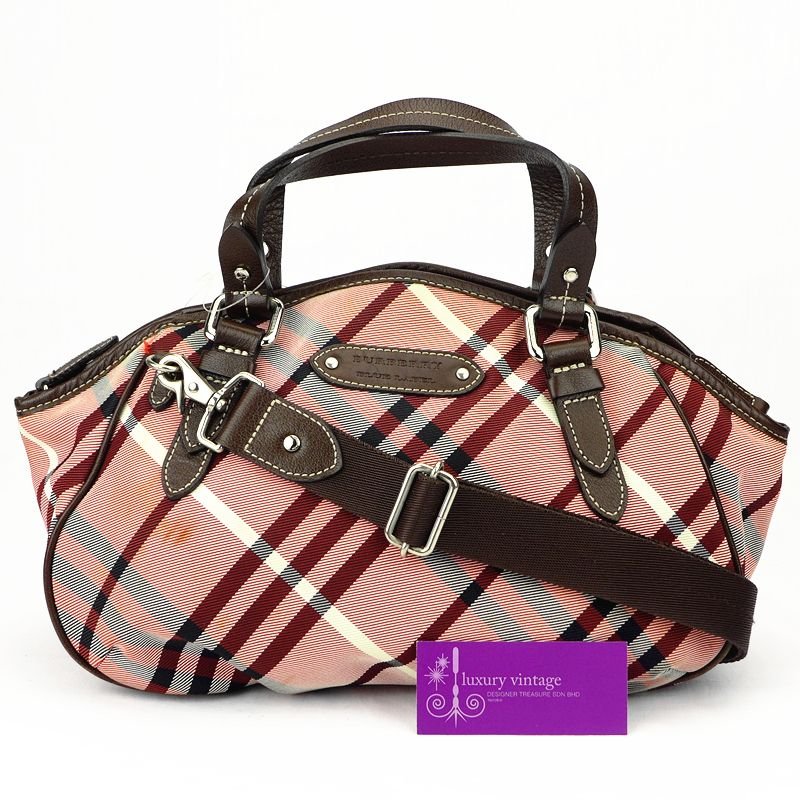 04566540ecbb42 #Burberry Blue Label 2way Bag Maroon/Red/Brown Printed Canvas With Leather  good conditions ref.code-(KCUR-5)
