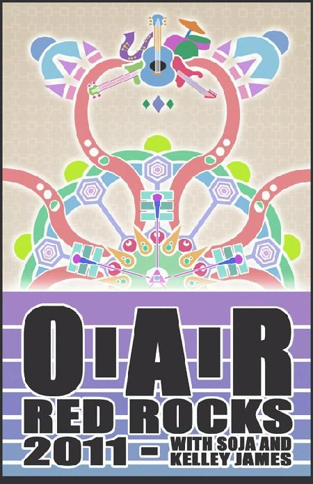 Original concert poster for Of A Revolution (O.A.R) and Soja at Red Rocks in Morrison, CO in 2011.  11x17 card stock. Art by Launchpad.