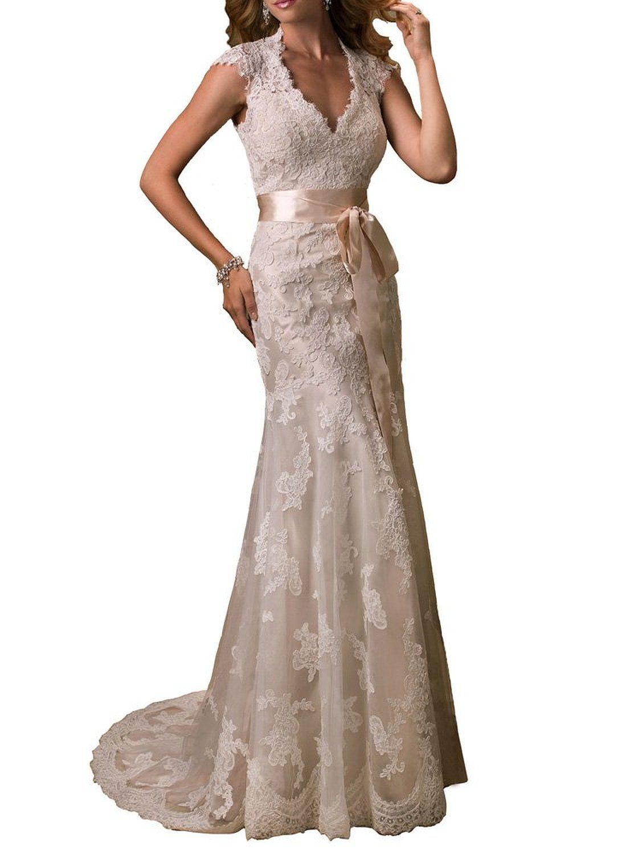Lace keyhole back wedding dress  Elle Bridal Keyhole Back Lace Chapel Wedding Dress   My Dream