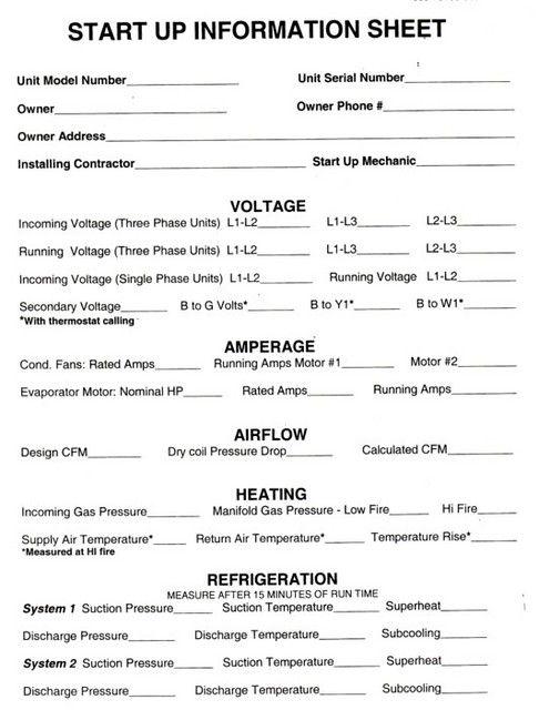 HVAC Start Up Sheets | Thread: HVAC/R Preventive Maint. Checklist ...