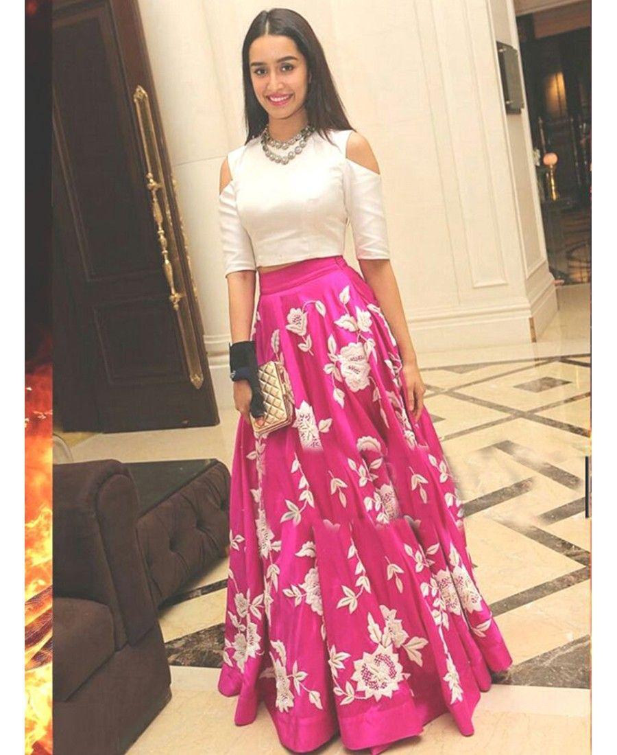 Shraddha Kapoor Pink Bhagalpuri Silk Semi-Stitched Lehenga Choli ...