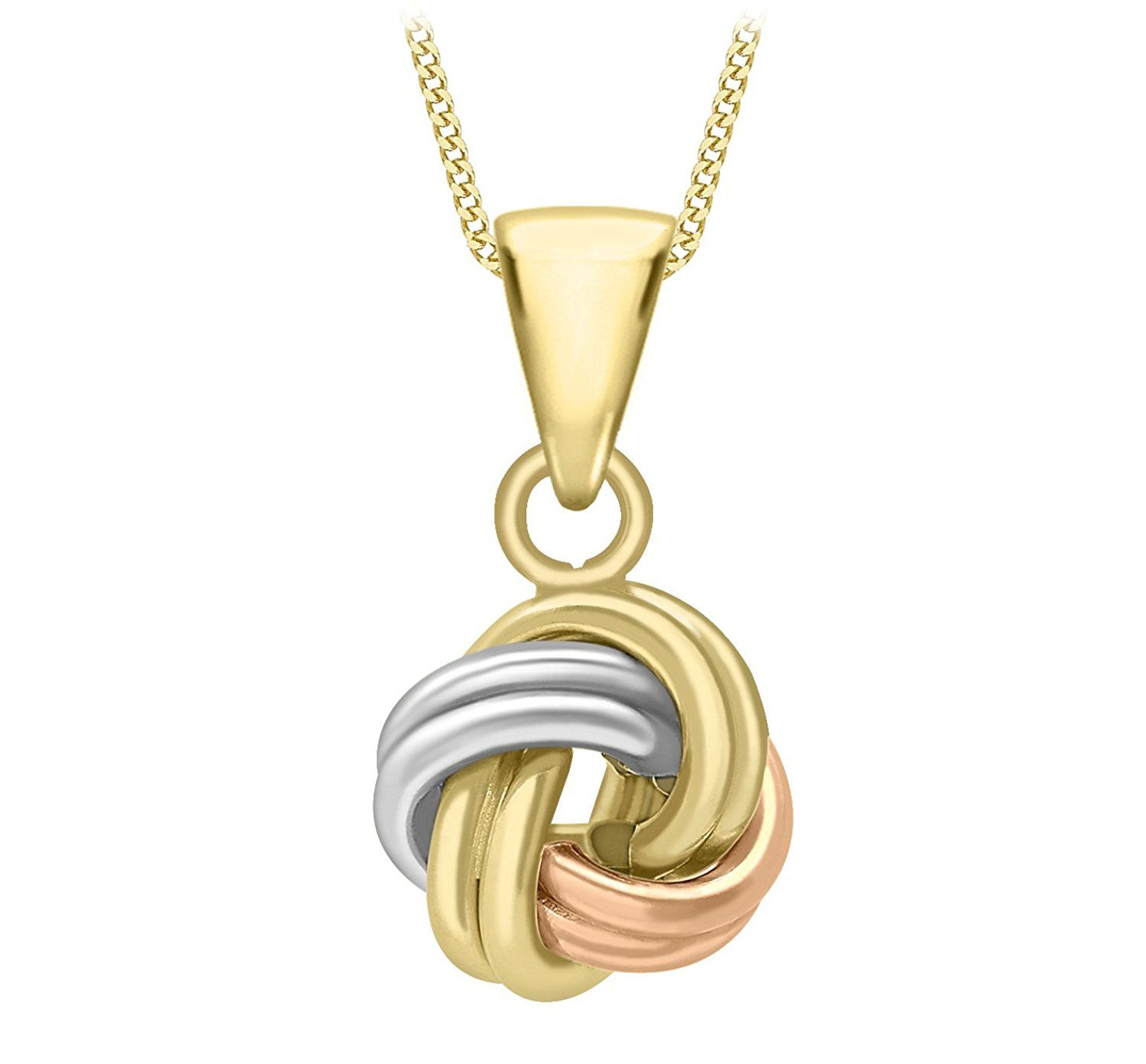 Carissima gold ct colour gold with polished tube knot pendant on