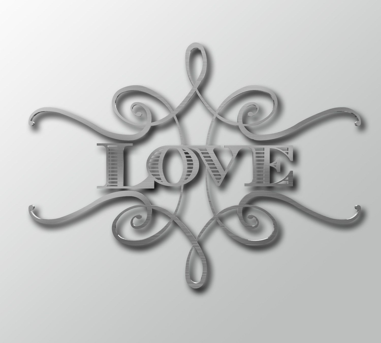 Huge Metal Wall Decor Love Metal Sign W Scroll  Word Wall Art  Metal Wall Decor