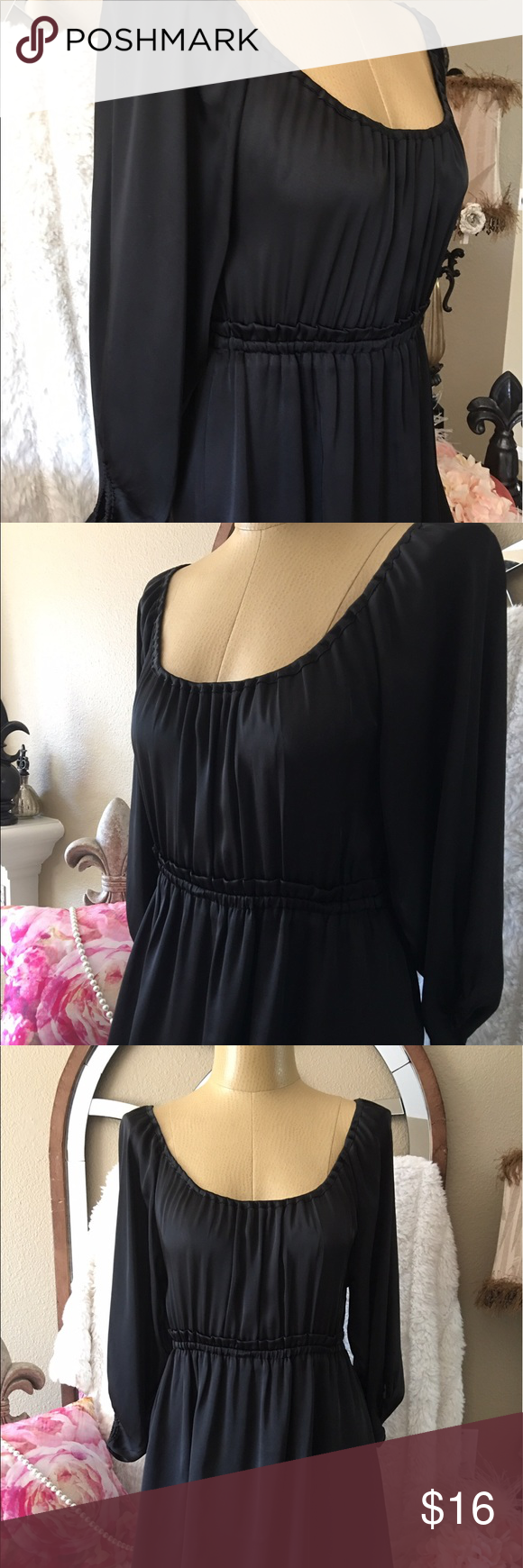 """H&M Silky black dress elastic waist size 6 Black dress with elastic waist for nice fit size 6. 17"""" arm pit to arm pit, 13"""" across the waist unstretched , 37 1/2"""" shoulder to hem. 💯polyester nice Silky fabric, bottom of dress is lined. H&M Dresses"""