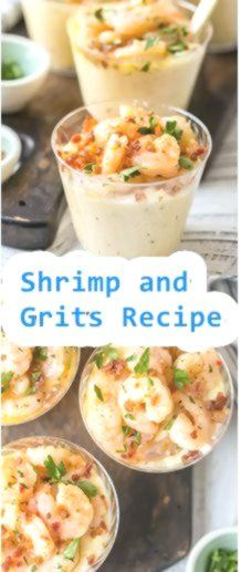 Shrimps and Grits Appetizer Cups (Knoblauch-Butter-Shrimps and Grits-Rezept #shrimpandgrits