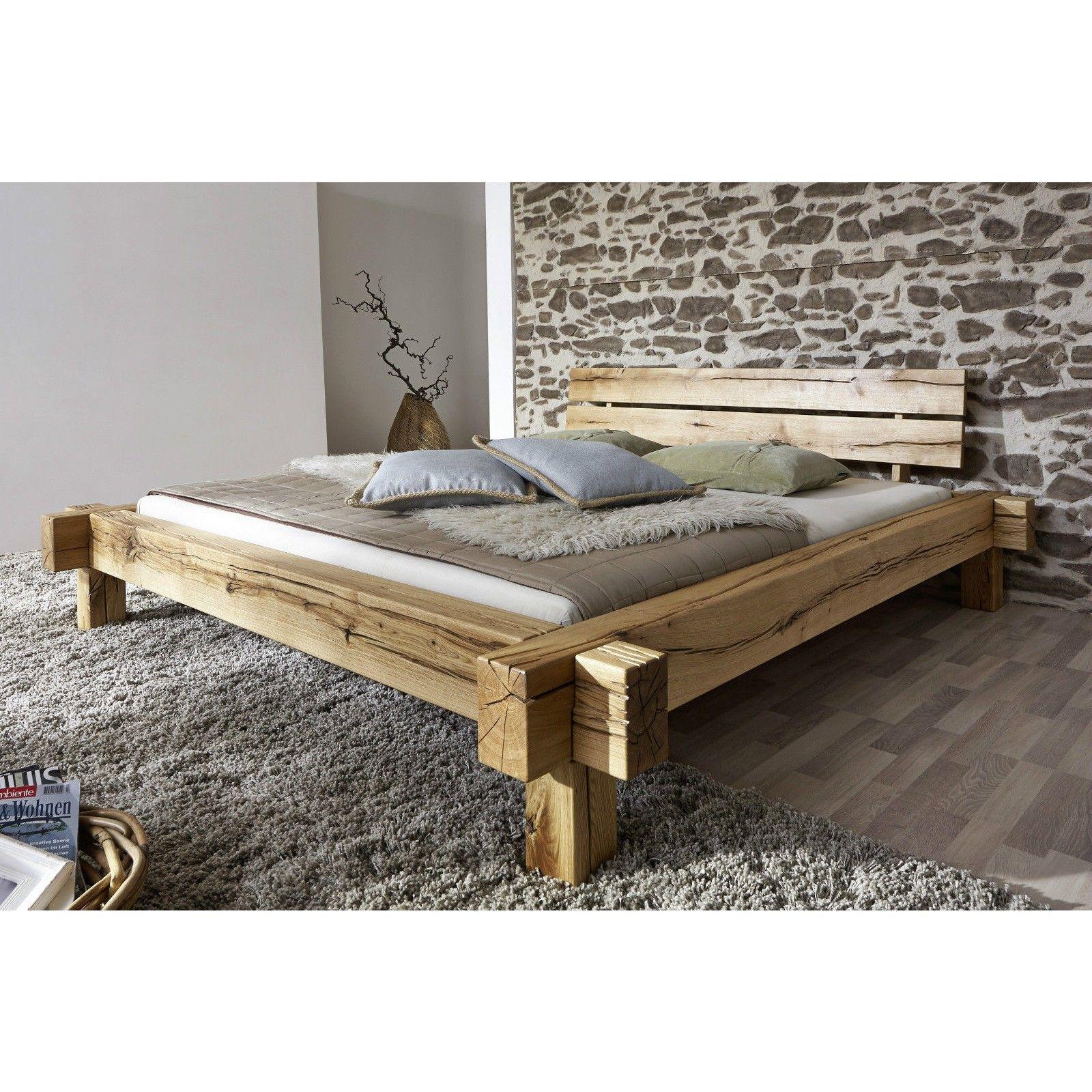 Doppelbett Bett Balkenbett 160x200cm Wildeiche Eiche massiv geölt ...