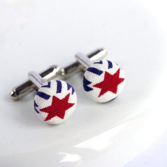 Red star Cufflinks, Fabric Cufflinks, Tricolor Cuff Links, Superhero gifts, Hero gift, Celestial dreams #superherogifts