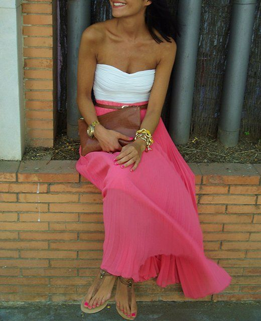 Beautiful. Hot pink maxi skirt, white top, belt.. Could be my outfit for one of the 800 weddings this summer!!