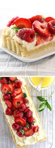 Berry Tart With Lemon Curd Mascarpone is a light, tangy dessert favorite   http://foodiecrush.com