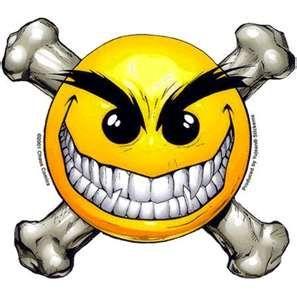 Skull And Cross Bones Happy Face Symbol Smiley Scary Art