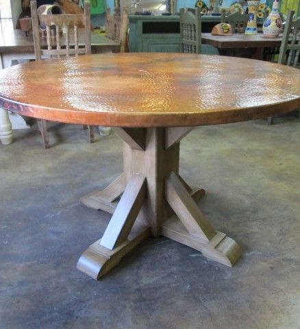 I Like This Base 60 Round Copper Farmhouse Dining Table Barrio Antiguo Furniture