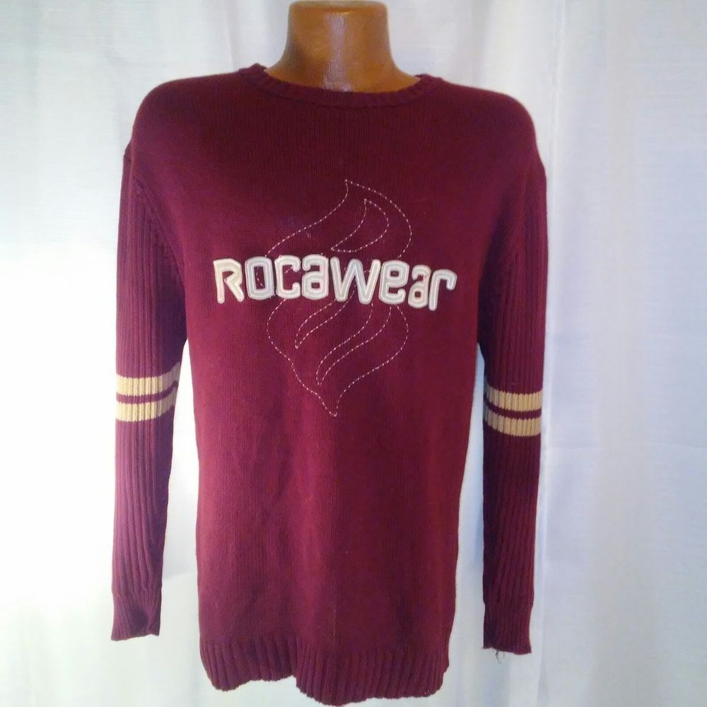 Roca Wear Authentic Mens Burgundy Red Sweater Medium 10 12 Rocawear Crewneck Long Sleeve Tshirt Men Mens Outfits Sweaters [ 1000 x 1000 Pixel ]