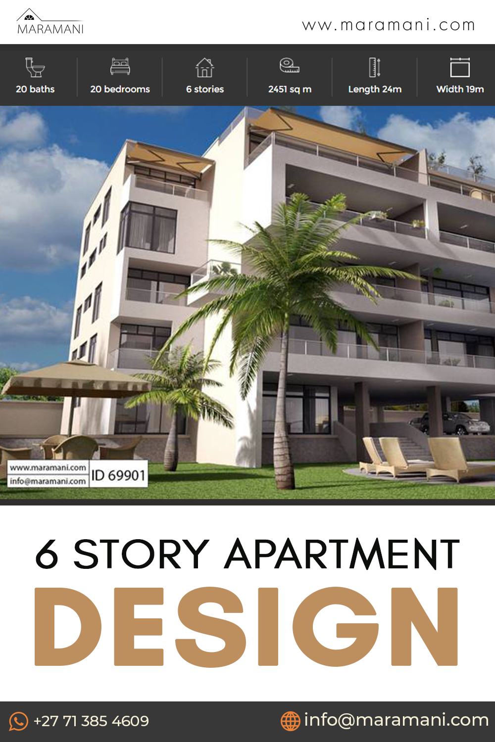 6 Story Apartment Design - ID 69901! Small house plans, dream house plans, tiny house plans, modern house plans, barn house plans, duplex house plans, ranch house plans, three bedroom house plan, 2 bedroom house plans, 2 bedroom 2 bath house plans, Future house plans, luxury house plans, simple house plans, two story house plans, beach house plans, pool house plans, 3d house plans. #smallhouseplans #dreamhouseplans #modernhouseplans #luxuryhouseplans #simplehouseplans