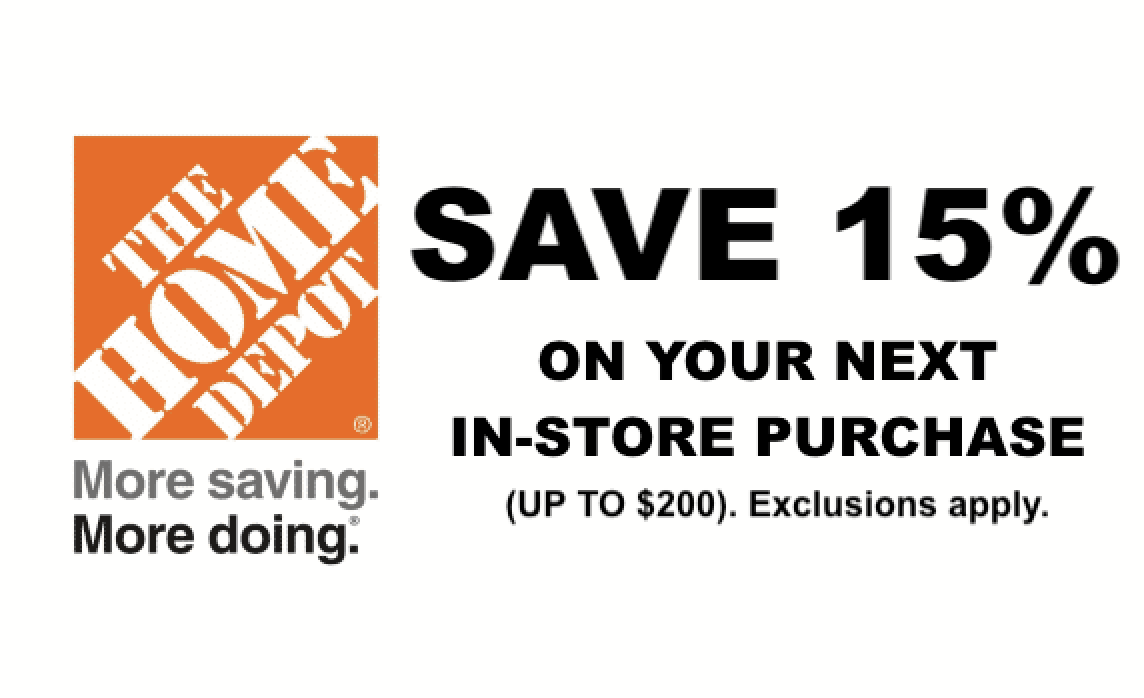 Get Your 15 Off Home Depot Coupon Delivered Instantly To Your Inbox 24 7 This Can Be Used Once In Store And Ca Home Depot Coupons Home Depot Lowes Home Depot