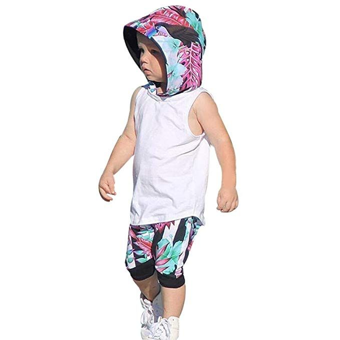 004a2bfda Fabal Cute Toddler Kids Baby Boy Hooded Vest Tops+Short Pants 2pcs ...