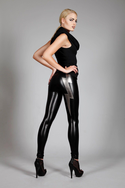 Lightning Bolt Leggings , Black Leather Spandex Pants ...