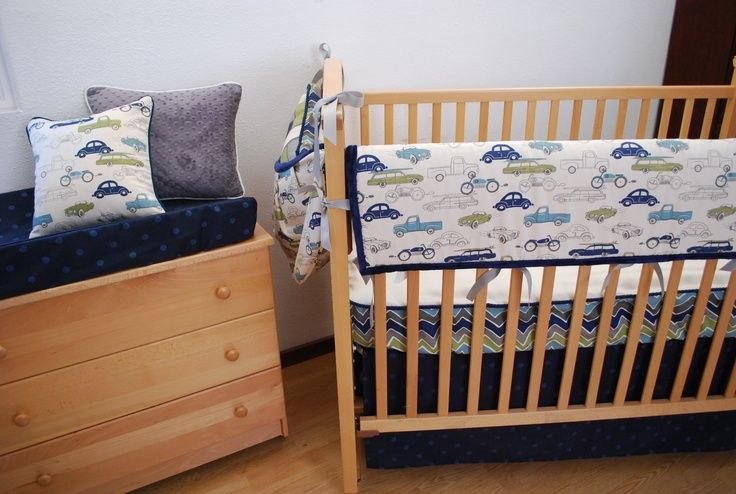 Cars Nursery Bedding Navy And Grey Crib With A Vintage Car Print In The