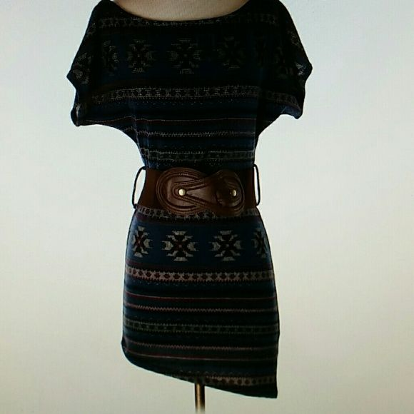 Easel Sweater Dress Lightweight, super soft sweater dress by Easel.  Dress has an asymmetrical hemline and removable belt. Would look great paired with leggings and booties! Approx 33 in from shoulder to longest side of hem. Easel Dresses Mini