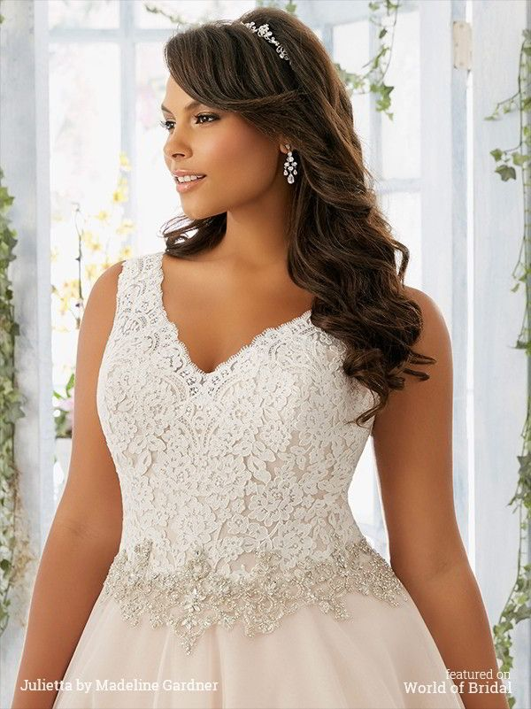 Julietta Spring 2016 Plus Size wedding dresses feature Chantilly lace, tulle, crystal, medallion beaded satin, pearl chandelier beading, alençon lace appliqués and scalloped hemline.