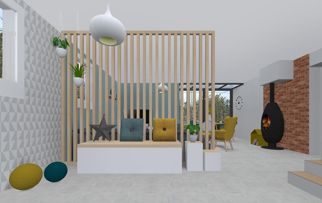 3d d 39 une entr e ouverte sur le s jour banquette avec. Black Bedroom Furniture Sets. Home Design Ideas